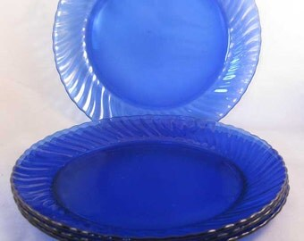 Arcoroc Saphir Torsade Cobalt Blue Glass Swirled Salad Plates (4) France