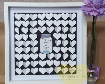 Wedding guestbook - 3D wedding guest book sign a hearts Guestbook- Heart sign book - heart guestbook -shadow box guest book up to 150 guest