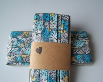 3 Yards Handmade Cotton Bias Tape Binding Blue Floral 1/2 Inch Double Fold