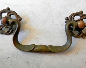 9 antique vintage cast brass drawer pulls in 3 inch centers