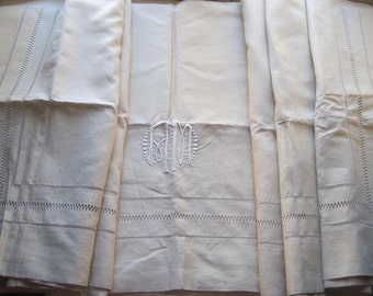 Exceptional XL vintage French pure linen sheet, unused, stunning decoration, heirloom bedding