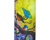Spring Revival Birds in Tree Candle Wrapper with Flameless Candle