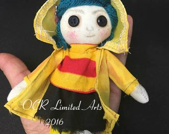 MADE to Order Tiny Coraline Button Eye Doll Inspired Creepy cute  Handmade Art doll cloth doll collectible Gothic doll decor gift rag doll