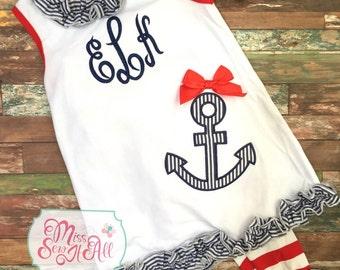 Girls Summer Anchor Shirt and Pants Set, Girls Anchor Set, Custom Anchor Set, Girls Ruffle Summer Set