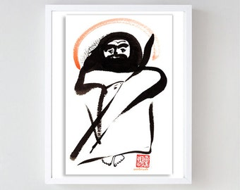 Bodhidharma, zen Chinese patriarch Buddha, original zen painting, sumi ink, japanese art, inspirational art, zen decor, taoist, buddhist art