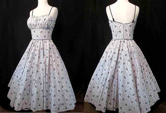 "CLEARANCE Adorable 1950's Cotton Print Sun Dress w/ Shelf Bust98by ""Ozzie of California"" Pinup Girl Rockabilly Swing Dance VLV Size-Small"