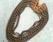 Vintage Copper Necklace Multi Strand Copper Necklace Fernella's NYC Jools