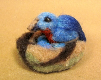 Blue Birdie on her nest needle felted friend