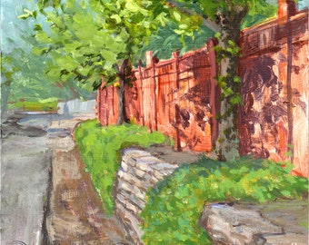 Original Plein Air Painting Trees against Cedar Fence  by Elo Wobig Fine Art Acrylic 8 x 8 inches