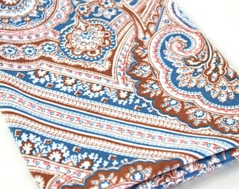 Vintage Sheet Fabric reclaimed bed sheet bed linen fabric retro rust coral blue lg paisley design quilting retro camper decor sheet fabric