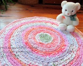 "rug, rag rug, area rug, handmade crochet rug, ""braided"" rug, round rug, nursery rug, shabby chic, pastels, nursery decor, boho chic"