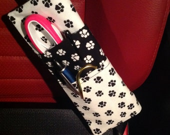 White and Black Animal Paws Print Three Pocket Bi-Fold Seat Belt Pocket Pouch
