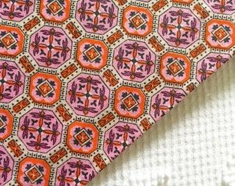Vintage Orange Pink Black Geometric Cotton Fabric 1950's