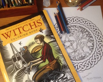 Witch's Coloring Book and Bonus Coloring Page by Mickie Mueller
