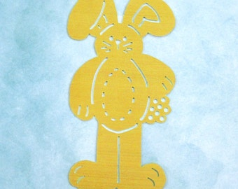 Brass Stencil / NEW / Standing Bunny Holding Bouquet of Flowers / Dry Stylus Embossing / Crafting Supply / Scrapbooking, Cards, Altered Art