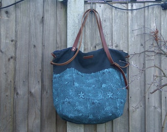 Large indigo linen Tote with leather handles hand printed turquoise blossom by Papa Totoro