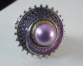 Designer Barbara Bixby 18K & Sterling Ring w Purple Pearl Amethyst and Enamel