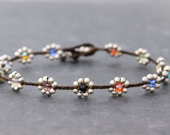 Candy Crystal Daisy Silver Braided Anklet
