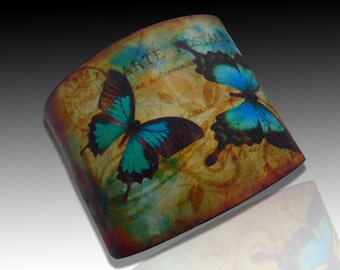 Remember the old times polymer clay cuff