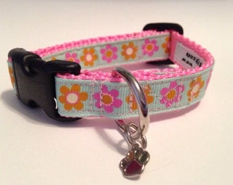 Extra Small Pastel posies Dog Collar