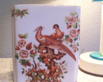 Vintage Porcelain Frog Vase, Andrea by Sadek, Japan, Pheasants, Asian/Oriental  Birds, Creamy Ivory
