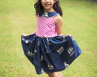 Sweetheart Dress PDF Sewing Pattern, including sizes 6 months-8 years, Girls Dress Pattern, Girls Sewing Pattern, Sundress Pattern