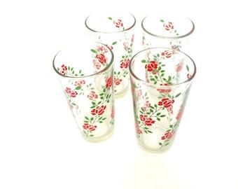 Red Roses Set of 4 Vintage Drinking Glasses
