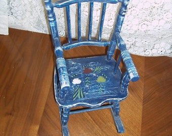 Vintage Doll Chair Hand-Crafted Hand Painted Wooden Rocker Blue with Flowers