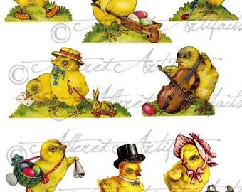 Vintage Easter Dressed Chicks Scraps Chickadee Vintage Easter Dressed Chick Die Cuts Digital Instant Download Collage Sheet