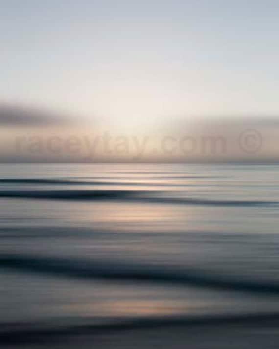 Ocean Photography, Orange, Blue, Modern, Abstract, Beach House Decor, Large Wall Art, Gray Blue, Waves, Ocean Print