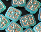 Czech Glass Beads - Jewelry Making Supplies - Decorative Rectangle Tile Beads - 12x11mm - CHOOSE AMOUNT