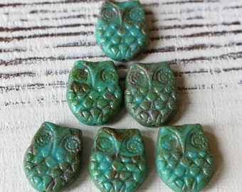 Czech Owl Beads - Czech Glass Beads - Horned Owl Beads - Jewelry Makinf Supply (4 or 10 Owl Beads ) 15x19mm Turquoise Picasso