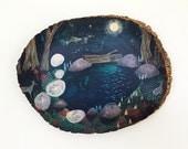 In the deep dark woods // 9 x 12 art print on wood round
