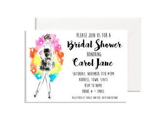 Bridal Shower Invitation  Download Printable, Fashion Illustration, Bachelorette Party