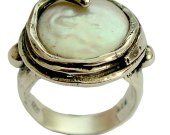 Sterling silver statement ring, cocktail ring, coin pearl ring - Vanilla ice R1470-3