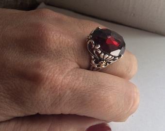 Bohemian Ring, statement ring, silver gold ring, Garnet ring, gypsy ring, red stone ring, boho ring, hippie ring - Precious love R2215X