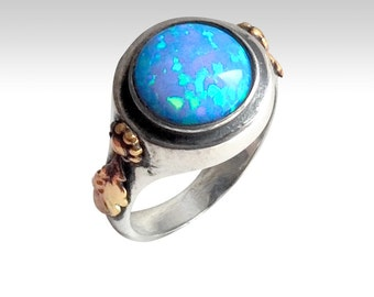 Opal ring, boho ring, hippie ring, gypsy ring, Tibetan, silver ring, twotone ring, gemstone ring, engagement ring - Mysterious Ways R2213
