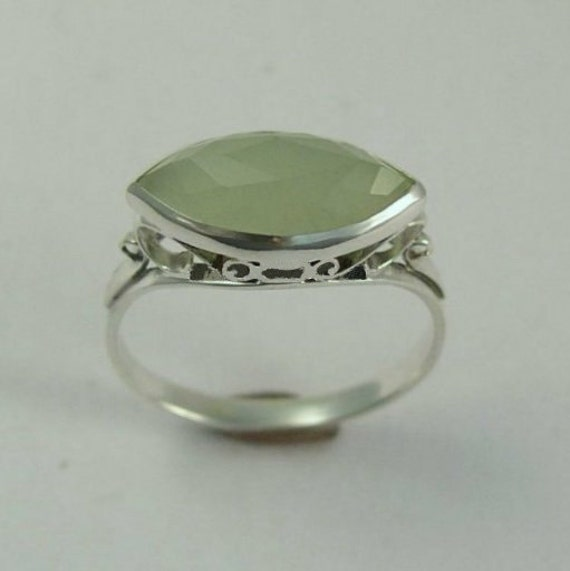 Jade Silver Ring, green gemstone ring, Victorian ring, antique ring, gemstone ring, engagement ring, wedding ring - My obsession R1215-1