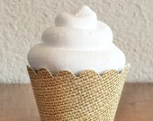 Burlap Printed Cupcake Wrappers- Set of 12- READY TO SHIP