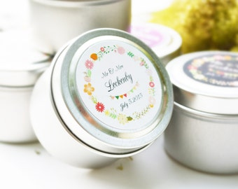 125 Wedding Favors Soy Candles in 2 Oz.Travel Tin with Personalized Label