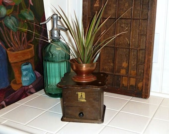 Vintage Coffee Grinder Repurposed as a Planter Wood & Copper