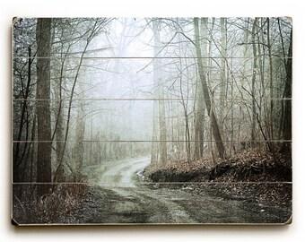 Wood Plank Art, Art on Wood, Dark Landscape on Wood Plank, Surreal Forest Road, Mystical Woodland Road, Rustic Dark Landscape
