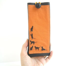 Black cats EpiPen bag, insulated Epipen case necklace, EpiPen holder, eyeglass case, Insulin Injector case carrier, sunglasses holder case