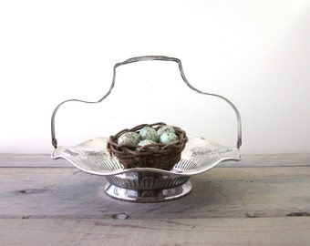Vintage Silver Plate Footed Serving Basket with Handle
