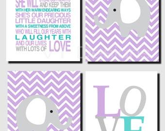 Purple Gray Teal Nursery Art, Baby Girl Nursery, Kids Wall Art, Love, Elephants, Our Daughter, Girls Nursery Decor, Set of 4, Art Prints