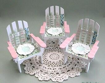 Miniature Chair Doll Chair 1:6 Adirondack Chair Wood Chair Beach Chair Flower Chair Fairy Garden Chair Toy Chair White Chair Barbie Blythe