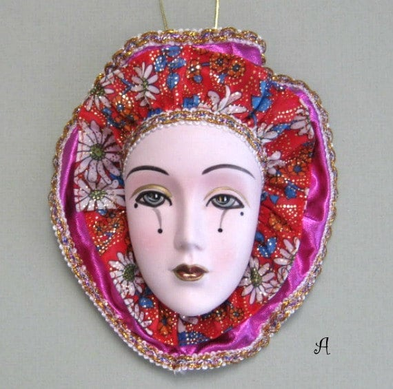 Latest Interiors Porcelain Skin: Venetian Mask Art Face Mask Wall Mask Ceramic By Afloralaffair
