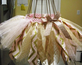 Shabby Chic pink and gold rag tutu, Birthday tutu, smash cake tutu, photo prop, with matching pink and gold headband