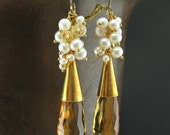 Gold Citrine Earrings, Gold Pearl Cluster, Natural Citrine Dangle, Untreated Gemstone Earrings, Luxury Jewelry, Elongated Stone, Leverback