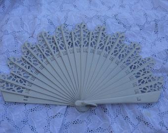 """ivory white lace  """"BARAJA""""  wood spanish fan FREE SHIPPING"""